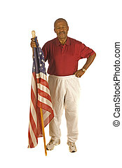 African American Patriot with flag - African American...