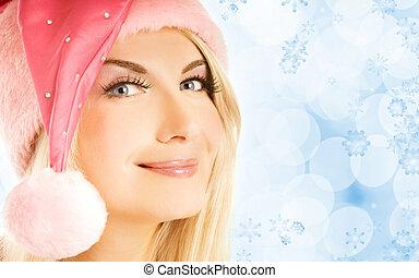 Beautiful mrs. Santa close-up portrait