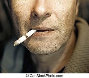 homem, cigarro, close-up, Retrato