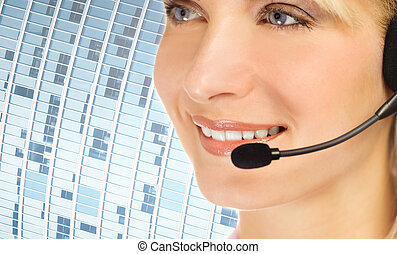Friendly hotline operator over abstract blue background