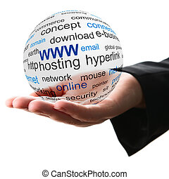 Concept of world wide web - Transparent ball with www word...
