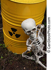 Radioactive waste and skeleton - Radioactive waste barrel...