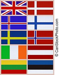 National flags of Northern Europe countries - Ten national...