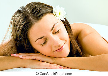 Sleeping girl - Image of beautiful head putting on her hands...