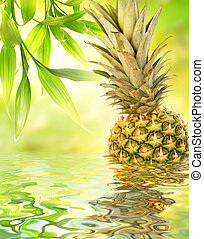 Pineapple reflected in water
