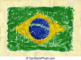 Painted flag - Hand painted acrylic flag of Brazil