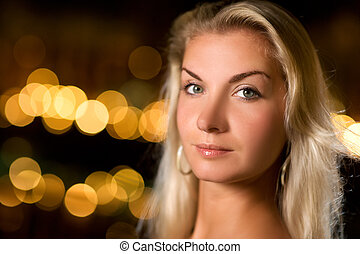 Beautiful young woman close-up portrait