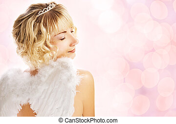 Beautiful angel over abstract pink background