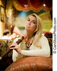 Beautiful youn woman with hookah - Beautiful young woman...