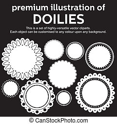 Doilies vector - Set of highly versatile vector cliparts of...