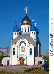 Small church in local district of Minsk, Republic of Belarus