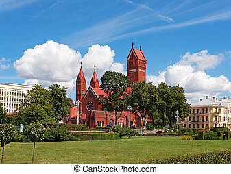 "Famous Red Chapel - Famous ""Red Chapel"" in Minsk, Republic..."
