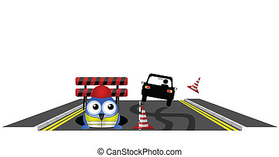 road works - Car skidding to avoid road works isolated on...