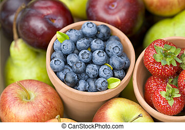summer fruit produce - summer or autumn fresh fruit...