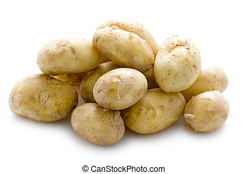 new potatoes on white background - maris peer new potatoes...