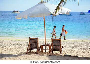 leisurely beach and sea shot in Boracay Philippines