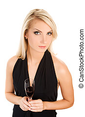 Beautiful young woman with a glass of red wine