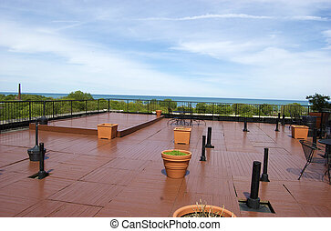 rooftop deck in the summer
