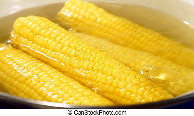 Boiled Corn Cob - Corn cob boiling in a pot