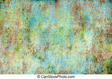 A rough, textured green and blue grunge background with copy...