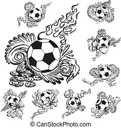 Soccer balls with embellishments. Set of black and white...
