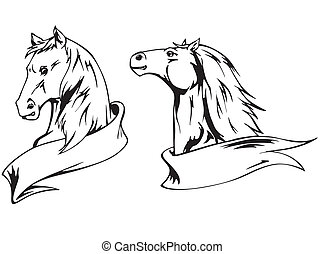 Horses with ribbons