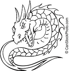 Dragon serpent. Black and white vector illustration.