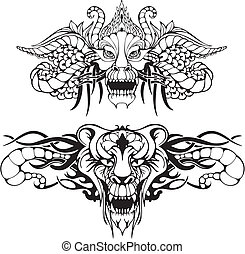 Symmetric animal tattoos. Set of black and white vector...
