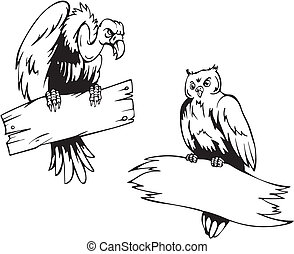 Vulture and owl with boards. Set of black and white vector...