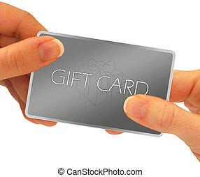 regalo, tarjeta, Manos