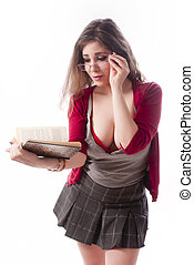 Sexy school girl - One sexy school girl reading a book