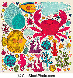 Fish, fun crab and marine life - Vector wallpaper with fish,...