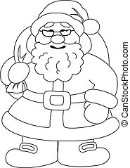 Santa Claus with bag of gifts, outline - Christmas cartoon:...