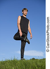 desportista, estiramento, direita, perna, cajado, antes de