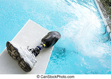 Prosthetic Leg - Prosthetic leg left on diving board.