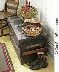 Sewing Basket - An antique scene of a sewing basket old...