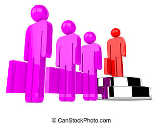 Leadership concept with a businessman character