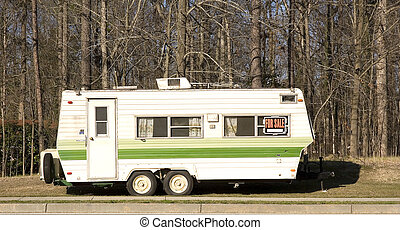 Camper Trailer for Sale - A yellow and green camper trailer...