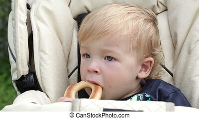 Babyboy is eating the cooky - One year old cute babyboy is...