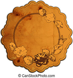 Vintage round frame adorned with roses. Vector illustration