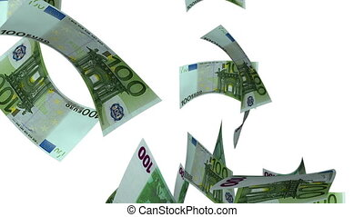 Falling Euro (Loop on White) - Falling 100 Euro bills....