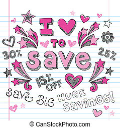 I Love to Save Shopping Doodles Set