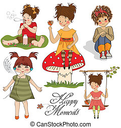 happy moments items collection on white background