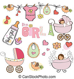 baby girl shower elements set isolated on white background