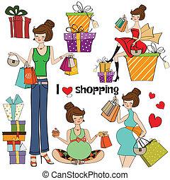 girls at shopping items set on white background