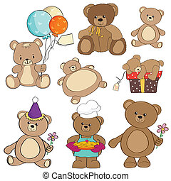 set of different teddy bears items for design in vector...