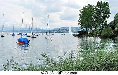 Boats moored on Lake Zurich Switzerland