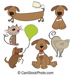 caricatura, mascotas, Colección