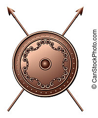 Bronze shield and crossed spears Vector illustration