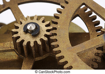 Antique Clock Gears Macro - Gears from an antique clock in a...